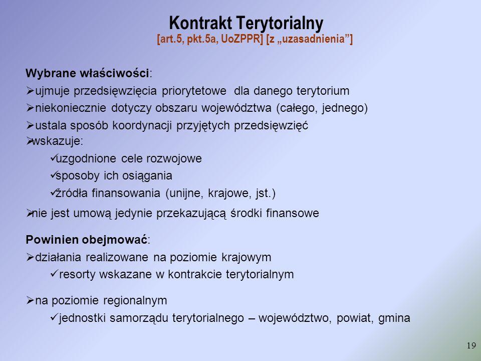 """Kontrakt Terytorialny [art.5, pkt.5a, UoZPPR] [z """"uzasadnienia ]"""